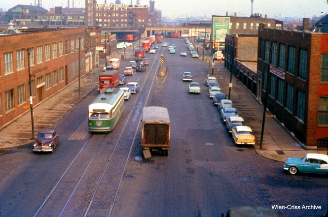 "CTA 7239 is on Western at the Douglas Park ""L"" on November 11, 1955. (Wien-Criss Archive)"