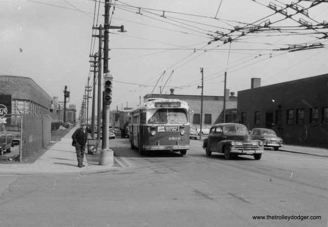 CTA trolley bus 9509, heading south on Route 52 - Kedzie, is at Kedzie and 51st . (Charles E. Keevil Photo, William Shapotkin Collection)