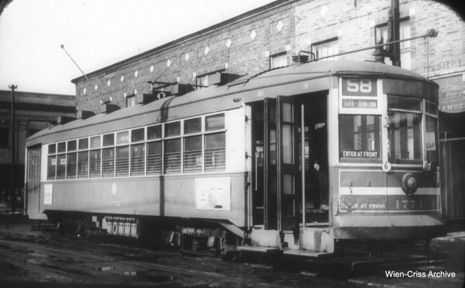 "CTA 1774, signed for Ogden-Downtown. Don's Rail Photos notes, ""1774 was built by CSL in 1923. It was rebuilt as one-man in 1949."" (William C. Hoffman Photo, Wien-Criss Archive)"
