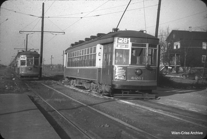 CTA 6261 is at the end of the line at Stony Island and 93rd on November 7, 1948. (William C. Hoffman Photo, Wien-Criss Archive)