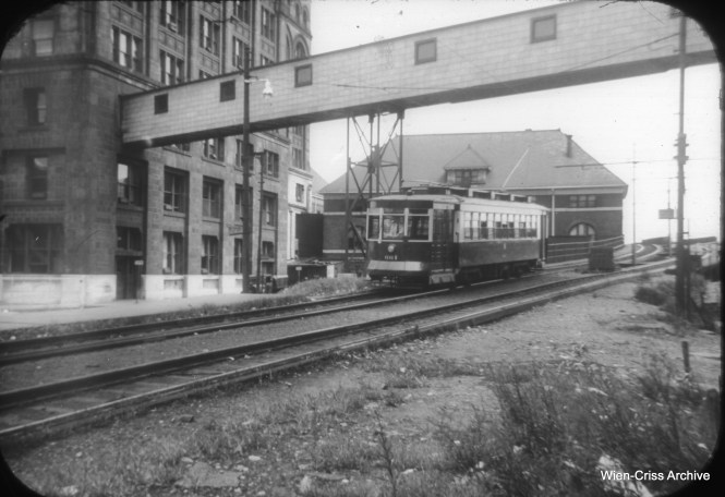 CTA Pullman 661 is westbound at Roosevelt Road and Michigan Avenue, returning from the Museum Loop built for the 1933-34 Century of Progress World's Fair. (William C. Hoffman Photo. Wien-Criss Archive)