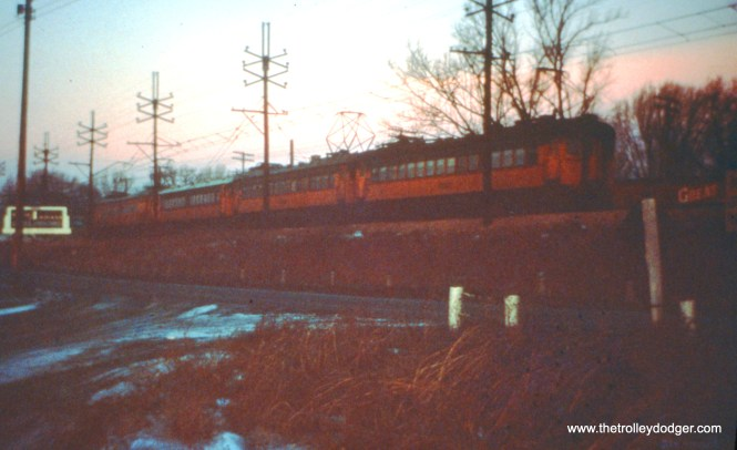 Train 8 approaching Miller, where it won't stop, on December 26, 1963. (John D. Horachek Photo, William Shapotkin Collection)