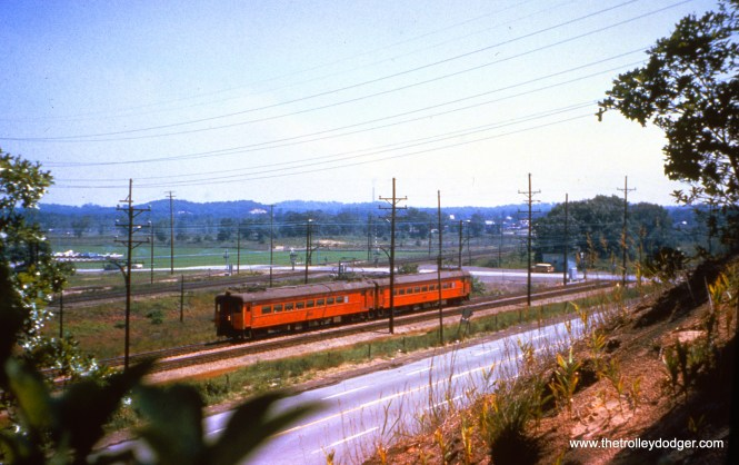 SSL cars 111 and 106, making up train 16, at Midwest, a new stop for a steel plant, on June 13, 1963. (John D. Horachek Photo, William Shapotkin Collection)