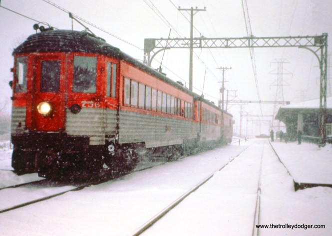 NSL train 414 leaves Dempster station in Skokie on a snowy January 19, 1963. (John D. Horachek Photo, William Shapotkin Collection)