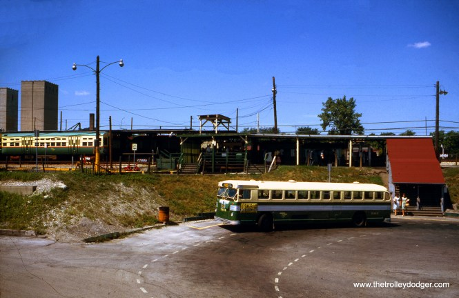 CTA bus 5483 at the DesPlaines Avenue Terminal in Forest Park in August 1963. This has since been completely rebuilt, and is now the terminus of the Blue Line (formerly called the Congress). (William Shapotkin Collection)