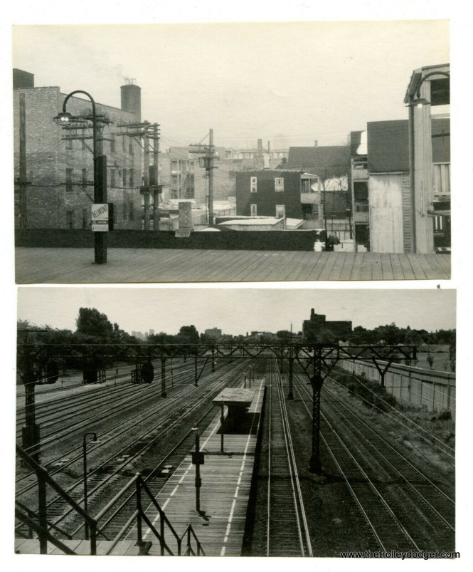 "The top picture is the Belmont ""L"" station, and the bottom is the Illinois Central (now Metra) Electric."