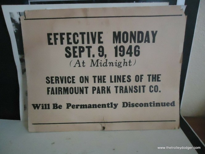 An original sign, indicating the abandonment of trolley service in Fairmount Park in Philadelphia. This was a unique line, which was about 8 miles long and was not connected to any other Philadelphia streetcar line. It ran only in the park and lasted for 50 years. Open cars were run in the summer, closed cars at other times. By the time it shut down, it was practically an operating museum.