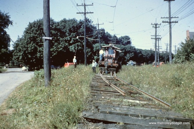 """After what was supposed to be a """"temporary"""" abandonment of the Lehigh Valley Transit's Liberty Bell route between Allentown and Norristown (PA) in September 1951, the railroad wasted no time in ripping up rails, so as to make it permanent. They were out there the very next morning."""