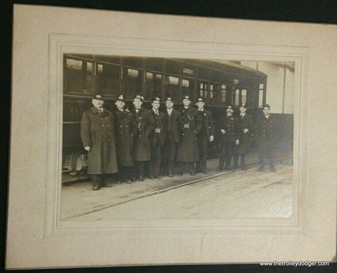 Photos of streetcar company employees are always interesting. The car in this early 1900s photo is signed for Halsted Street.