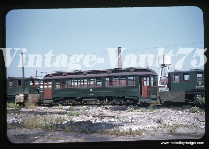 """CSL/CTA work car AA101 at 77th and Vincennes in 1955. Don's Rail Photos adds: """"AA101, salt car, was built by South Chicago City Ry in 1907 as SCCRy 335. It was rebuilt in 1907 and became C&SCRy 834 in 1908. It was renumbered 2849 in 1913 and became CSL 2849 in 1914. It was later converted as a salt car and renumbered AA101 in 1948. It was retired on December 14, 1956."""