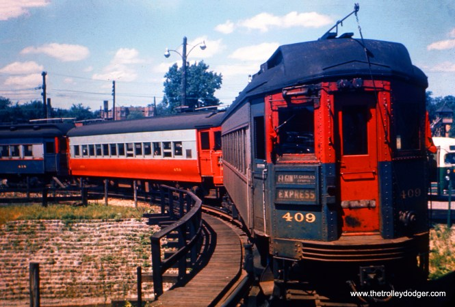 This photo of CA&E 409 and train was taken between 1953 and 1957 at the DesPlaines Avenue terminal in Forest Park. Once the interurban stopped running downtown, due to construction of the Congress Expressway (now Eisenhower), trains looped here. CTA trains made a different loop on a wooden elevated structure just to the west of the station. (Steve Hyett Photo)