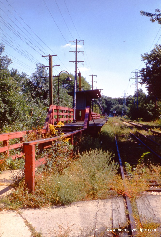 By September 1959, the Chicago Aurora & Elgin interurban line had been completely abandoned. Passenger service ended abruptly in July 1957, and the last freight trains ran in early 1959. Here is what one of the Maywood stations (11th Avenue) looked like while the tracks were still in place.