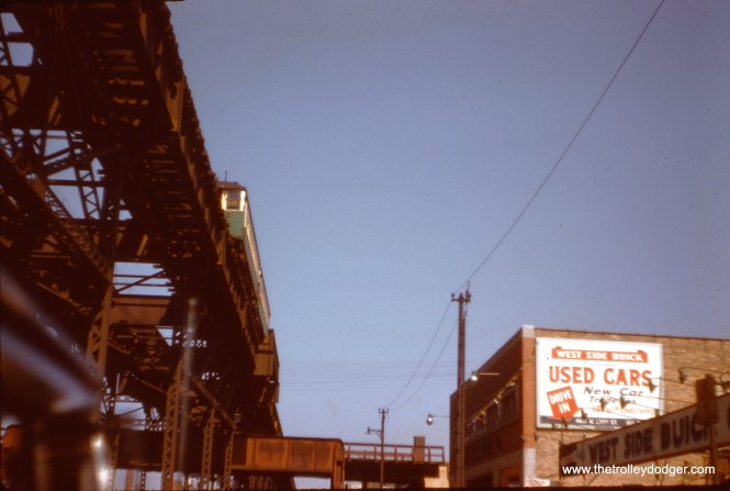 "The Lake Street ""L"" near Cicero Avenue in May 1958. (J. W. Vigrass Photo)"