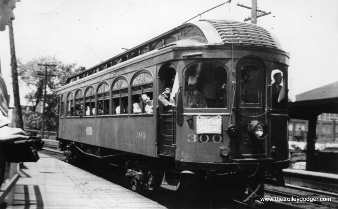 Between 1939 and 1942, the North Shore Line let the fledgling Central Electric Railfans' Association use one of their old wooden cars (#300) as a club car, for meetings and excursions. The date on the back of this photo is April 11, 1943, but I don't think any fantrips were taking place on the Chicago interurbans at that time, as there was a war going on.