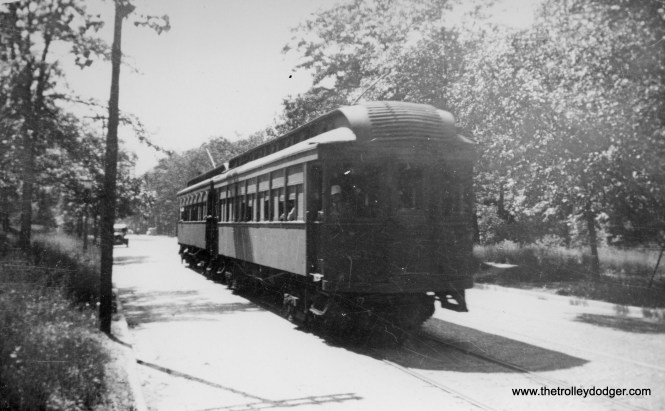 I have no info on this photo, but if I had to guess, I would say these are North Shore Line wood cars, of the type that were eventually sold to the CA&E in 1946.