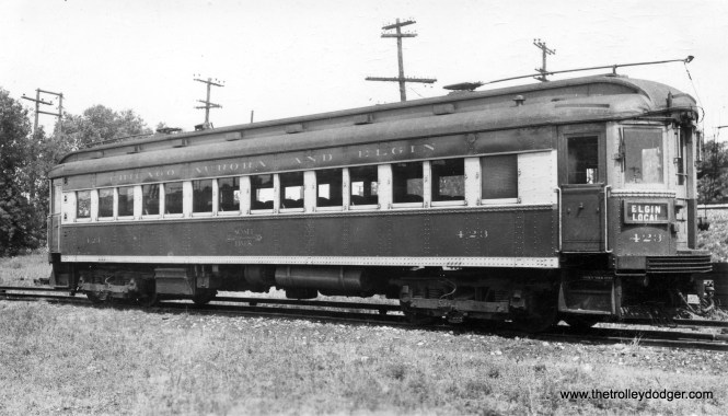 "CA&E 423, signed as an Elgin Local. Don's Rail Photos: ""423 was built by Cincinnati Car Co in 1927, (order) #2055."""