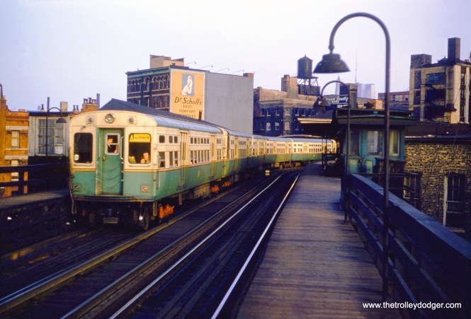 "A northbound Ravenswood ""A"" train at Chicago Avenue in the late 1950s."