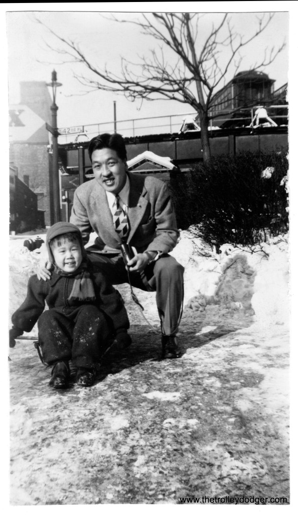 """Ross Harano as a toddler in 1945, with his uncle Susumu Okamoto, in front of the Kenwood """"L"""" terminal at 42nd Place. (Courtesy of Ross Harano)"""