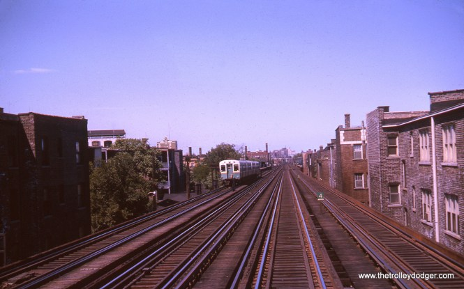 Just south of Addison, looking north, in August 1963. You can see the Wrigley Field scoreboard at left.