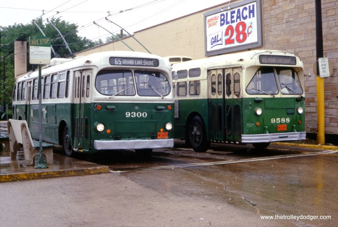 CTA trolley buses 9300 and 9588 at Grand and Nordica in July 1969. This was my neighborhood, and I boarded buses here all the time back then. There was a supermarket next door (I think it was a national). In recent years this is now a resale shop.