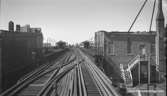 "June 21, 1958 was the day before the new Congress-Douglas-Milwaukee line went into regular service. It was also the last day the Douglas Park trains ran downtown over the Lake Street ""L"" . Photographer Bob Selle was riding a northbound Douglas train when he took this picture, showing the station at Madison and Paulina, which had not been used in over seven years."