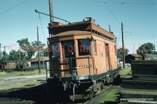 North Shore Line line car 604, photo by Gordon E. Lloyd at Highwood on June 13, 1959. Another original slide.