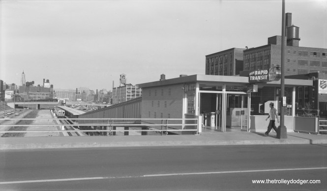 """CTA-- one of the entrances to the Racine Avenue station on August 13, 1958."" (Robert Selle Photo)"