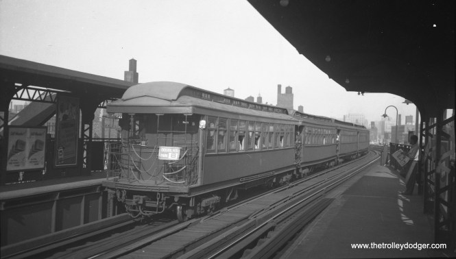 "A Douglas Park ""B"" train heads west at (I think) Halsted on the Met main line, prior to the removal of two tracks for expressway construction."