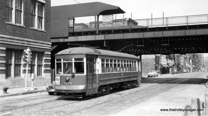 "CTA 1674 on Division by the north side ""L"" on June 25, 1950. This station had been closed on August 1, 1949 as part of the CTA's major revision of north-south service. On the back of the print, it notes that these cars were ""replaced by big Pullmans a few weeks later."""
