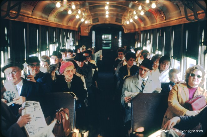 Morning commuters on the Evanston Express in April 1970.
