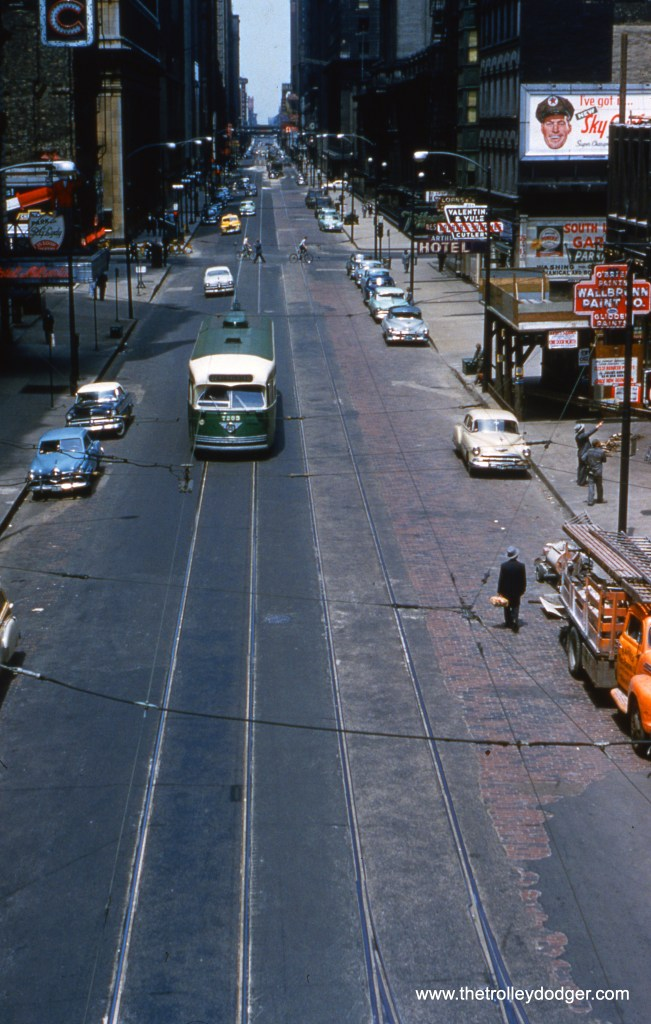 CTA 7023 at Clark and Van Buren on June 6, 1954.
