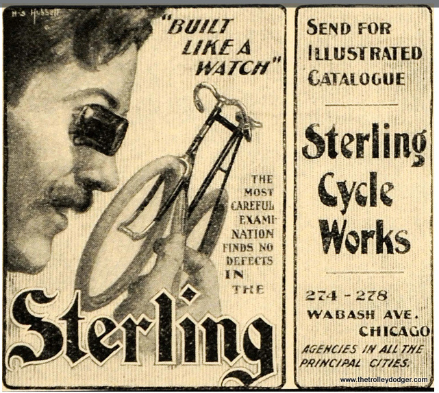This circa 1897 ad shows Sterling Cycle Works on Wabash. However, this pre-dates the renumbering of Chicago streets, where the city shifted to a grid system, with numbers starting at State and Madison.