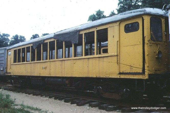 "Don's Rail Photos"" ""S-347 was built by Cincinnati Car in 1922, #2660, as 4323. It was rebuilt on February 26, 1965, as S-347 and sold to Indiana Transportation in June 1979."" Perhaps this picture was taken in Indiana. The museum has since lost this location."