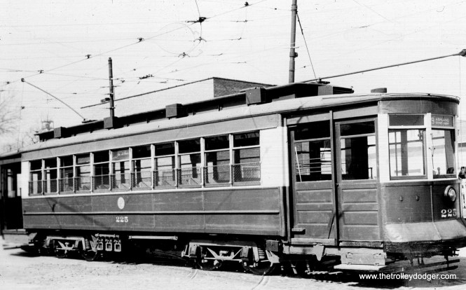 CTA 225 on Route 9 - Ashland. This car went to the Seashore Trolley Museum in 1957, where it remains today.