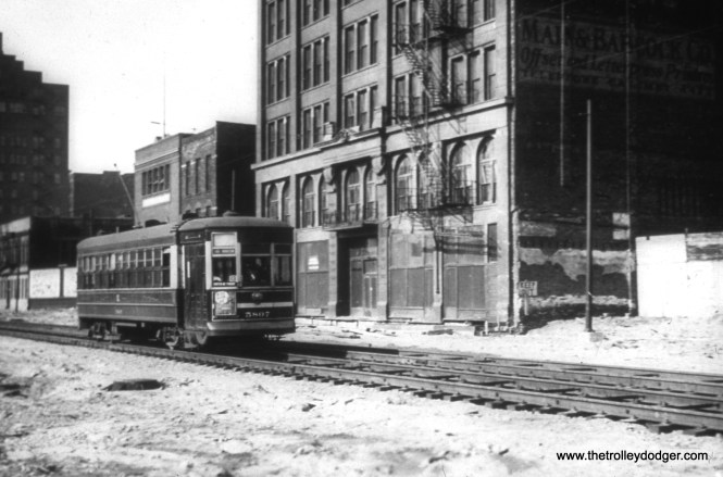 CSL 5087 at State and 13th in June 1939, during construction of the State Street Subway.