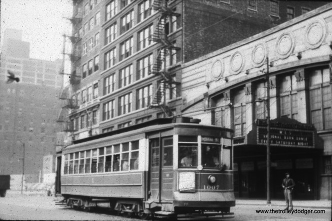 CSL 1007 at Wabash and 8th Street. The 8th Street Theater at right is where the WLS National Barn Dance did their weekly broadcast for several years. (Heier Industrial Photo)
