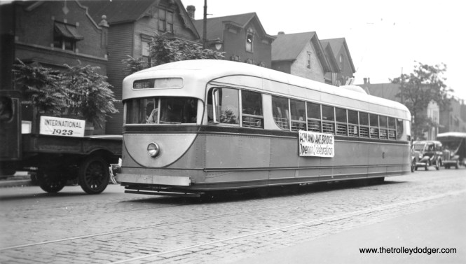Likewise, this picture of CSL 7001 can be dated to 1936, since it is signed as part of the opening ceremonies for the new Ashland Avenue bridge, which connected both parts of the Ashland car line. As the new PCCs weren't delivered until later in the year, 7001 was CSL's newest car and thus was featured along with a parade of historical equipment. As we have shown in other posts, the interior was similar to the pre-PCC cars built in 1935 for Washington, DC. It was retired in 1944 and unfortunately, scrapped in 1959.