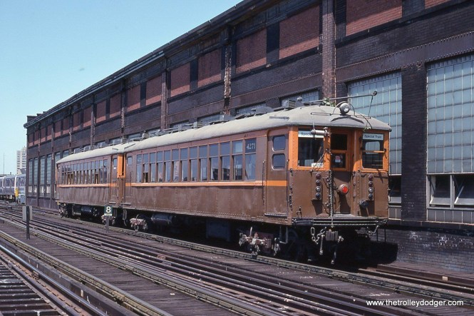 A nice view of CTA Historic cars 4271-4272 by the old Wilson Shops.