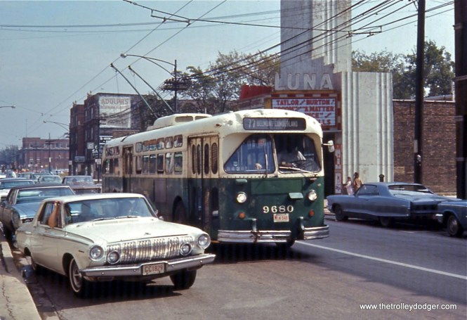 A westbound CTA trolley bus passes the Luna theatre, which was located at 4743 W. Belmont, circa 1968.