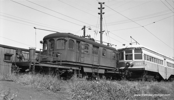 "Illinois Terminal electric loco 1596, a Class ""C"", at Granite City on September 12, 1955. Note car 101 is next to it, now at the Illinois Railway Museum. Don's Rail Photos: ""1596, Class C, was built at Decatur in December 1929. It was sold for scrap to Hyman Michaels on March 25, 1956."" (Bob Selle Photo)"