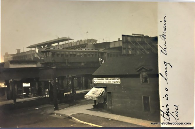 """This shows where the Met crossed over the Lake Street """"L"""". This picture was taken prior to the construction of the Lake Street Transfer station in 1913, made possible once the four competing """"L"""" companies came under joint operation."""