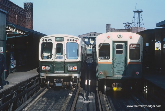 CTA B Douglas-Milwaukee and A Congress-Milwaukee trains at end of track, Logan Square Terminal on April 9, 1966
