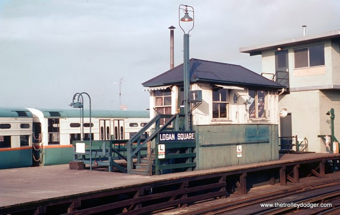 """CTA Logan Square Terminal and Yards Before the Kennedy Extension, 5 Photos The Logan Square station served the CTA as the terminal of the Milwaukee (Ave.) """"L"""" until February 1, 1970 when the Kennedy Extension to Jefferson Park (and later to O'Hare) opened. But on May 30, 1966, a new all-electric interlocking was placed in service at Logan Square tower. Roger Puta and Rick Burn had just visited Logan Square the month before and took these photos. These are Roger Puta's photos except for Photo 2. 2. The old and new tower (correct me if I'm wrong). Rick's photo. Sean Hunnicutt: """"6587-88."""""""