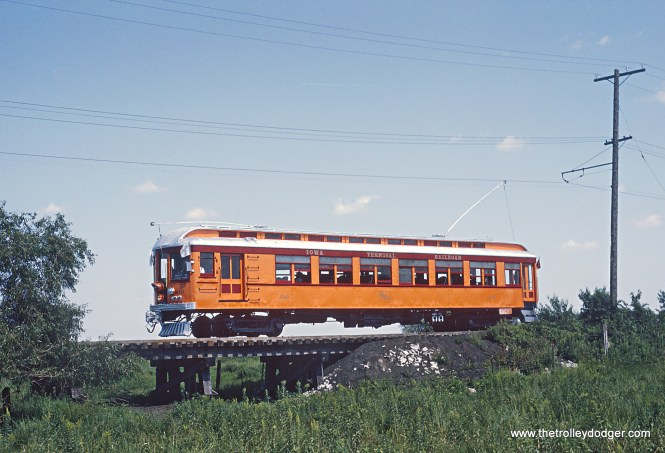 Iowa Terminal Railroad Car 100 near Clear Lake Photograph taken by Roger Puta the weekend of August 12th and 13th, 1967 in Iowa.