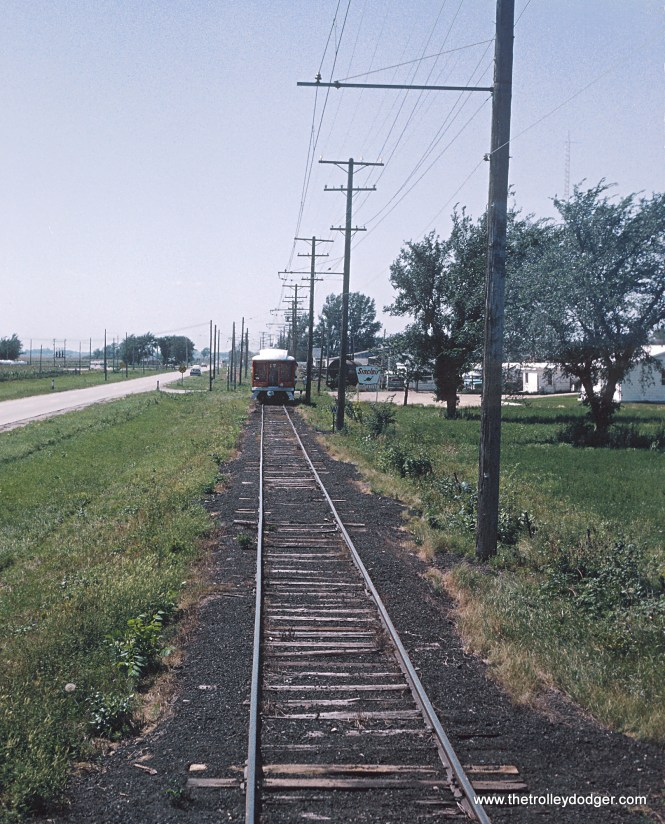 Iowa Terminal Railroad right of way just east of Emery taken from Box Motor with Passenger Car 100 ahead Photograph taken by Roger Puta the weekend of August 12th and 13th, 1967 in Iowa.