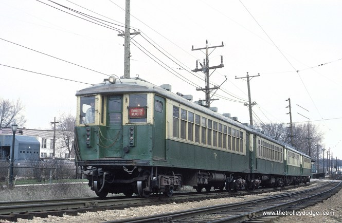 "Chicago Transit Authority 4000s as an Evanston Express (signed Evanston-Wilmette) leaving Isabella Station in Evanston, IL, April 12, 1966. Sean Hunnicutt adds, ""4447."""