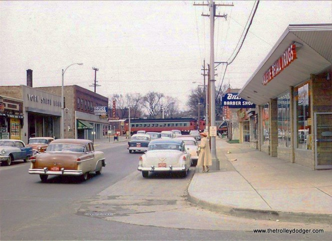This photo was taken by Steve Carter sometime during the last year of operation of the CA&E (1957), at the intersection of York Road and Vallette Street (Elmhurst), looking north.