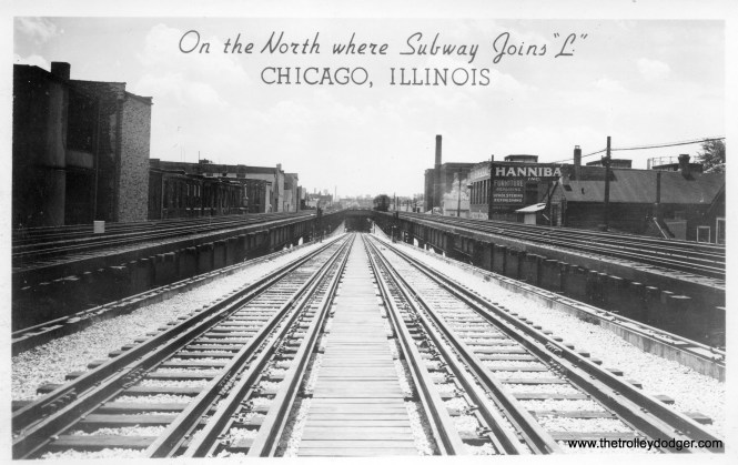 The City of Chicago hired professional photographers to shoot various scenes of the new State Street Subway around the time it opened in 1943. Some of these were issued in a series of postcards. Here, we see the new north portal, just south of Armitage.