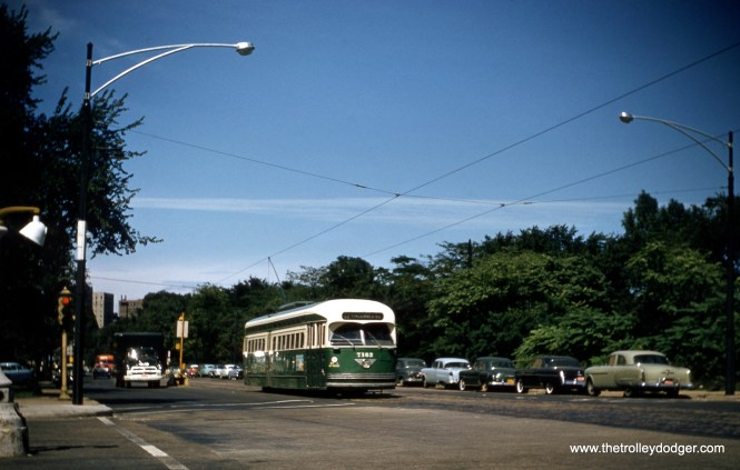 CTA 7162 is southbound on Clark Street at LaSalle Drive in September 1957. A version of this photo, taken from a duplicate slide, appears on page 177 of B-146, mistakenly credited to Charles L. Tauscher. (Robert Heinlein Photo)
