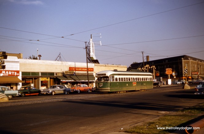 CTA 7193 is northbound on Clark, just north of Ridge, at around 5961 N. Clark in July 1957. A version of this image, taken from a duplicate slide, was incorrectly credited to Charles L. Tauscher on page 158 of B-146. (Robert Heinlein Photo)
